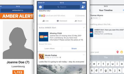Zusammenschluss Von Facebook Und AMBER Alert Luxemburg Für Vermisste Kinder